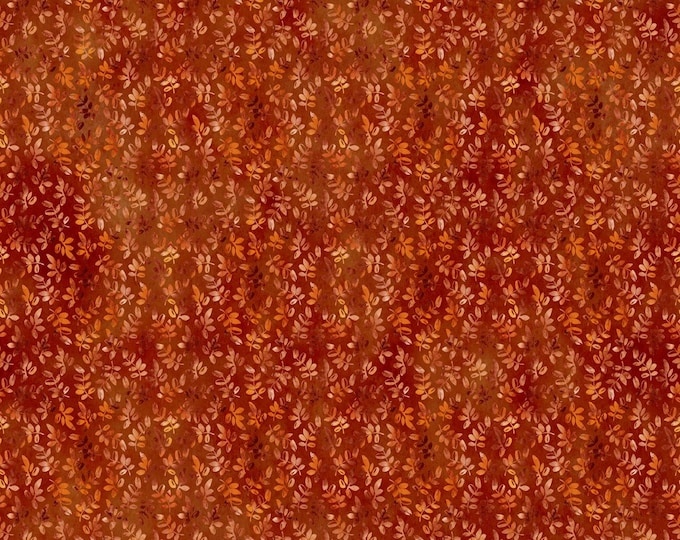 Featured listing image: Leaf Sprig Fabric  - Our Autumn collection - In The Beginning Jason Yenter 6OAF 1 Rust - Priced by the 1/2 yard