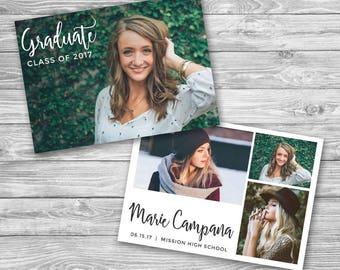 Graduation Announcement Template - Senior Card Photocard, Grad Announcement, 5x7 Card Invitation- Photoshop Template, PSD *INSTANT DOWNLOAD*