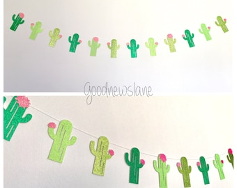 Fiesta Cactus Garland, Glittery Cactus Banner, Tropical Decor, Fiesta Party, Taco Party, cinco de mayo