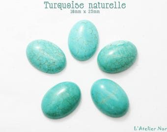 5 Turquoise oval Cabcohons natural 18mm x 25mm