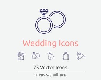 Wedding Line Icon Set in Vector, PDF and PNG.