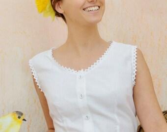 Gewoon Lady - Vintage inspired Victoriaanse witte katoenen vest, witte katoenen top