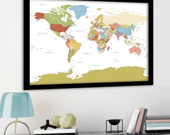 Large world map etsy large world map modern detailed map art political country borders capital cities named gumiabroncs Image collections