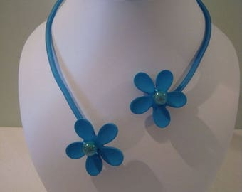 Necklace soft blue flower