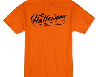 Halloween Classic Sign Flying Bats Men's Safety Orange T-shirt