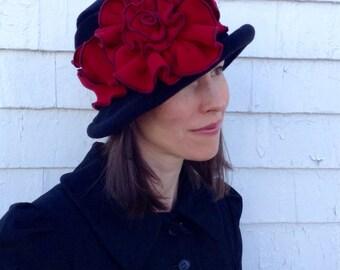 Ladies Fleece Edwardian Suffragette Hat - Black and Cherry Red - Margaret