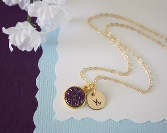 Gold Initial Druzy Necklace Purple, Crystal Necklace, Druzy Pendant, Gold Druzy, Amethyst Pendant, Initial Jewelry, Natural Stone