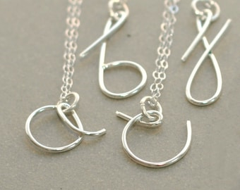 initial necklace. personalized silver initial. custom monogram gift for her under 50. milana letter font.