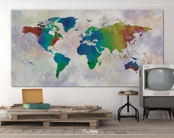 World Map Extra Large Canvas Print Large Rustic Earth World Travels Map Wall Art Wall Decor Canvas Art Wall Hanging Wanderlust Decor-860