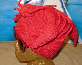 HALF PRICE SALE Instant Digital File pdf download Lobster Beanie Hat pdf knitting pattern