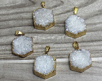 Druzy Hexagon Pendant edged in Electroplated 24k Gold- Drussy Druzzy Drusy Hexagon Pendant in AB Color Plating White Druzy