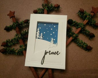 Tri-Fold Peaceful Woodland Snowy Scene Holiday Card