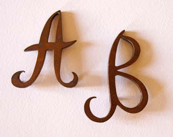 French Vintage Brass Letters A B  Craft Supplies