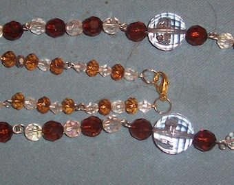 Here Pretty Brown/Crystal  Bead  Glass Necklace with Bracelets to Match