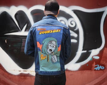 Hand Painted Denim Jacket - MF DOOM Inspired