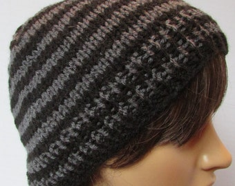 Black and Charcoal Grey Stripped Slouchy Beanie