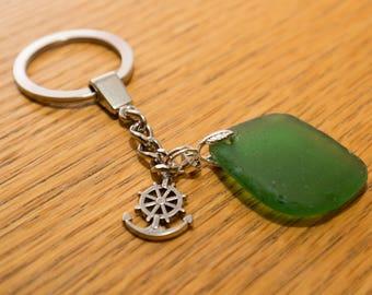 Mid green sea glass keyring