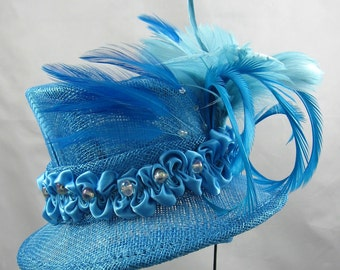 Turquoise Miniature Top Hat Kentucky Derby or Wedding Hat