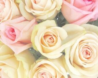 "Rose Photograph, Rose Art, Pastel Flower Photo, Cottage Chic Print, Garden Roses, Romantic Art, Modern Botanical Print- ""Spring Blossoms"""