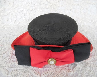 Whittall & Shon Hat, Ladies, Red and Black, Wide Brim, Pearl Accent, Church Hat, Derby Hat, Wedding Hat, Made in USA, Excellent Condition.