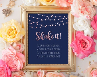 Printable Wedding sign Shake it Photo Guest Book 8x10 Rose Gold Glitter Navy Guest Book Sign DIY Printable Digital INSTANT DOWNLOAD 300dpi