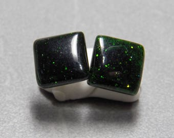 10mm Square Green Goldstone Post Earrings with Sterling Silver