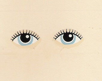 10 Pairs of Dolls Eyes (Ref 148) Toy Doll Restoration Waterslide Decals Transfers Blue Eyes with Lashes