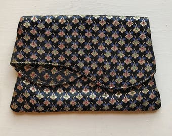 Vintage mid century brocade evening bag clutch small 1950s 50s 1960s 60s