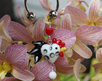 Happy Chicken keychain - lampwork glass chicken, egg and heart beads and a silver horseshoe keyring