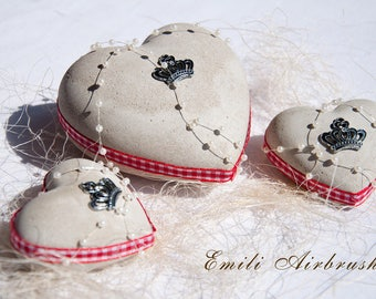 Set of 3 Concrete Hearts country house Art