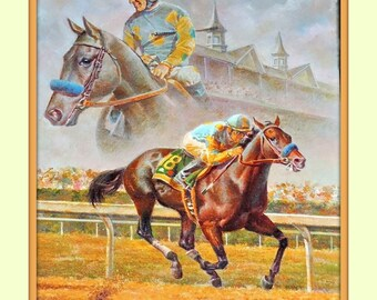 American Pharoah Victor Espinoza  Fred Stone 11x14 Double Matted 8x10 Art Print Triple Crown winner