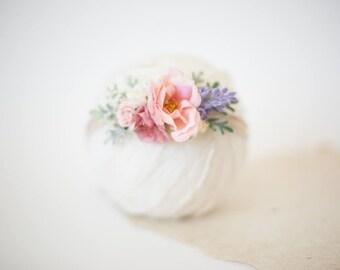 baby headband, toddler headband, flower headband, newborn headband, blush pink flower headband, girls headband, floral headband baby props