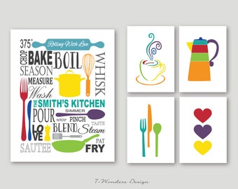 Kitchen Art Prints Personalized Subway Art with Coffee, Utensils and Hearts Prints - Set of (5) - 5 x 7's and 11 x 14 // Modern Kitchen