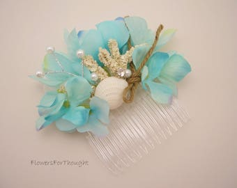 Beach Wedding Hair Comb, Aqua Hydrangea and Seashell Bridal Accessory