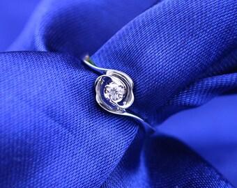 Rose Petite Solitaire Diamond 18k White Gold Ring Band Engagement Wedding Birthday Anniversary Valentine's