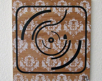 Turntable Graphic Multilayer Graffiti Stencil Art on Wood Panel
