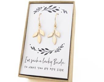 Small Leaf Gold Earrings, Tiny Leaf Earrings, Gold Leaf Earrings, Leaf Earrings, Bridesmaid Earrings, Gold Bridesmaid Gift, Gold Earrings