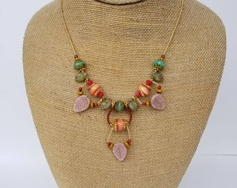 Pink Leaf India Necklace