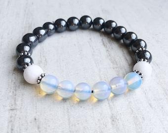 Black hematite gemstone bracelet Hematite bracelet for mom Moonstone jewelry for women Black bracelet for girlfriend