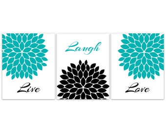 Home Decor Wall Art, Live Laugh Love CANVAS, Turquoise Wall Art, Flower Burst Bathroom Wall Decor, Aqua and Black Bedroom Wall Art - HOME103