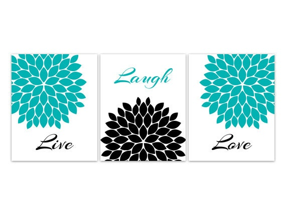 home decor wall art live laugh love canvas turquoise wall. Black Bedroom Furniture Sets. Home Design Ideas