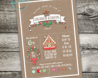 Christmas Party Gingerbread (Prints with Envelopes) ALL Wording Can Be Changed!