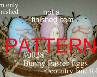 EPATTERN, #0028 Bunny Easter Eggs, painting pattern, Easter pattern, tole painting patterns, decorative painting, primitive pattern, rabbit