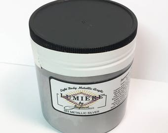 Lumiere Metallic Silver 563 - 8 oz Size - Brilliant Light Body Metallic Acrylic Paint - Art Craft Fabric Canvas Wood Paper Faux Finish