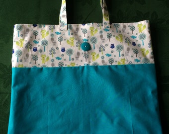 Teal Woodland Creatures Cloth Roll-up Tote Bag