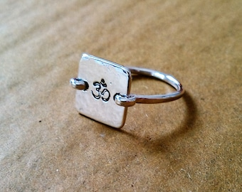 hand stamped square ring made to order in your size in sterling silver, copper or brass