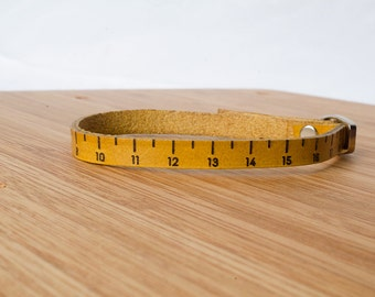 Centimeter Ruler Measurment Custom Skinny Adjustable Leather Bracelet