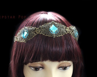 Teal Blue Princess of Swords circlet Crown (12 gem color options)(CR14) medieval Larp,renaissance,elven wedding,MacBeth,Shakspearean fair