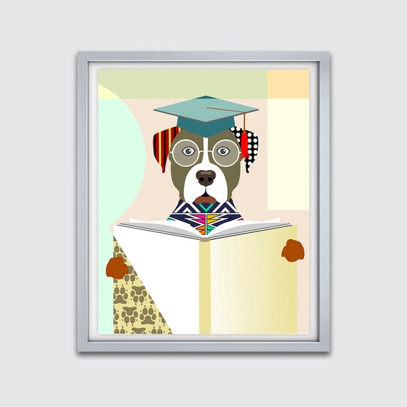 American Staffordshire Terrier Art Print, Funny Dog Art, Nursery Print,  AmStaff, Hipster Dog Painting, Dog Portrait, Pop Art Dog Poster