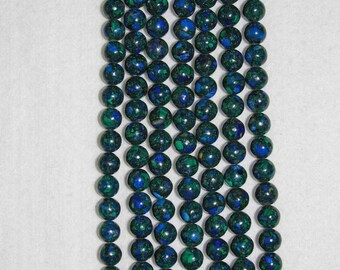 Azurite, Malachite, Azurite Malachite, Smooth Bead, Semi Precious, Natural Stone, Gemstone Bead, Full Strand, 10 mm, AdrianasBeads
